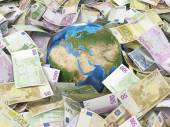 Globe and many euro bills — Stock Photo