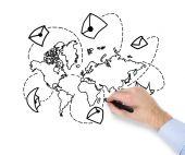 Mapa-múndi desenho mão — Fotografia Stock
