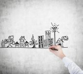 Hand drawing building — Stock Photo