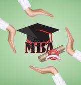 Hands holding graduation cap — Stock Photo