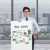 Poster with drawing real estate concept — Stock Photo