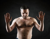 Hostage with hands up — Stock Photo