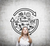 Young business woman is thinking about business cycle. — Stock Photo