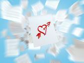 A sketch of the heart with the love arrow on the white flying paper. A concept of the romantic relationships. — Fotografia Stock