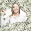 A happy girl smiling inside the US Dollar bills frame. 100 dollar nominal bills both sides. Front and reverse. — Stock Photo #72889647