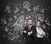 Jistý podnikání pár. Koncepce týmové práce, plánů rozvoje a budoucí perspektivy. — Stock fotografie