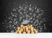 Graduation hat is laying on the coins pyramid. A concept of a high price for the university education. Education icons background. — Stock Photo