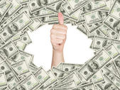 Thumb up inside the frame made of US Dollars Bills. 100 dollar nominal bills front side. — Stock Photo