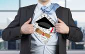 Young student is tearing the shirt. Graduation attributes are drawn on the chest. The concept of the graduation. — Stock Photo