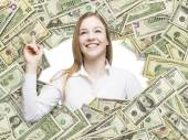 A happy girl smiling inside the US Dollar bills frame. All nominal bills both sides. Front and reverse. — Stock Photo