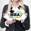 Blonde business lady is holding a cloud with business education icons. A concept of the MBA degree. — Stock Photo #73477421