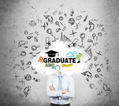 A student is pondering over the graduation process in the university. Cloud with the educational icons instead of the student's head. — Stock Photo