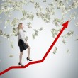 Full-length business lady is going up using the red arrow as a stair. A concept of the growth in economy. — Stock Photo #74600359