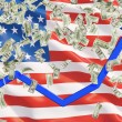 United states flag and falling dollar bills from the ceiling. Blue arrow going up a as concept of the growth in economy. — Stock Photo #74600213