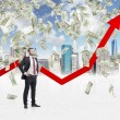 Full-length confident businessman stands among falling dollar bills from the sky. Red arrow is going up as a symbol of the growth in economy. New York sketch background. — Stock Photo #74600345