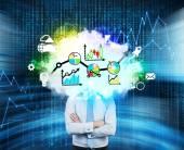 Digitale financiële oplossingen voor bedrijven. in plaats van zakenman hoofd een samenstelling met grafieken en diagrammen. — Stockfoto