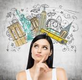 A portrait of a pensive brunette lady in a white tank top. Visiting of USA concept. Concrete background with a colourful sketch of the most famous places in New York. — Stock Photo