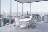 Panoramic conference room in modern office in New York City. White chairs and a white table. 3D rendering. — Stock Photo