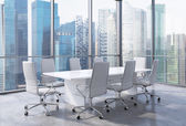 Modern office interior with huge windows and Singapore panoramic view. White leather on the chairs and a white table. A concept of CEO workplace. 3D rendering. — Stock Photo