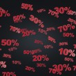 The concept of the black Friday, discount and sale. Collection of discount numbers 10% 20% 30% 50% 70%. Black background. — Stock Photo #78326984