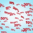 The concept of the discount and sale. collection of discount numbers 10% 20% 30% 50% 70%. Blue background. — Stock Photo #78327000