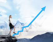 Full length beautiful woman in formal clothes on the rock is going up along the growing arrow. Financial charts and New York panoramic view on the background. — Stock Photo