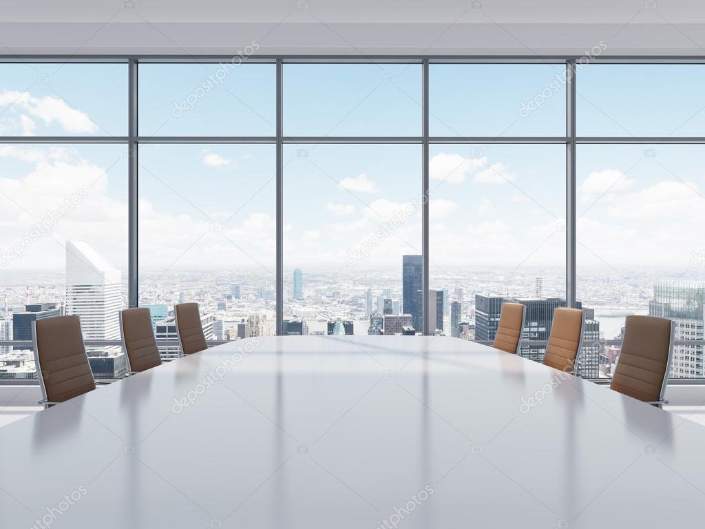 Panoramic conference room in modern office in New York City Brown