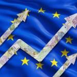 Growing Euro notes arrows over the flag of European Union. — Stock Photo #78890082
