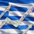 Growing Euro notes arrows over the Greek flag. — Stock Photo #78890126