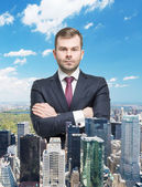 Close up of the transparent businessman and New York panoramic view. — Stock Photo