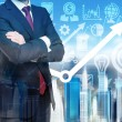 Close up of the businessman with crossed hands. Growing arrow as a concept of the success. Hologram cityscape on the back view and business icons on background. — Stock Photo #79055474