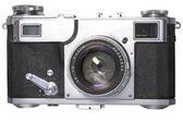 Old photo camera on white background — Stock Photo