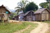 Typical malgasy village - african hut, poverty in madagascar — Stock Photo