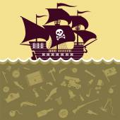 Vector image of the ship and pirate symbols — Stock Vector