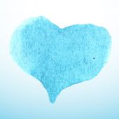 Blue watercolor heart  — Stok Vektör