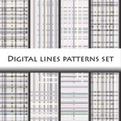 Digital lines pattern set. — Stock Vector