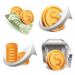Gold coins money safe box (icons set) — Stock Vector #60065279