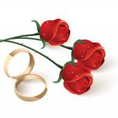 Wedding rings and red rose's — Stock Vector