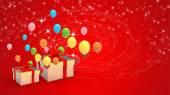 Presentförpackning och ballonger — Stockfoto