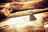 Ax on the timber. — Stockfoto