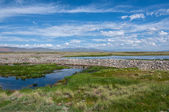 Lake steppe sky mountains clouds — Stock Photo