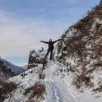 Man path mountains winter — Stock Photo #58244497