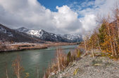 River mountain snow autumn clouds — Stock Photo