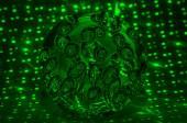 Сфера, пылающая круг зеленая черная абстракция — Стоковое фото