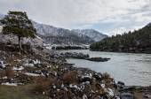 Mountain river first snow winter — Stock Photo