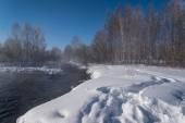 Winter forest river snow water — Stock Photo