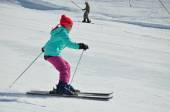 Youth skier on the piste — Stok fotoğraf