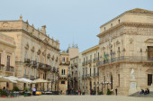 Central baroque square in the ancient Syracuse — Stock Photo