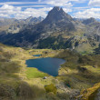 Peak du Midi d'Ossau and the lake Gentau in the Atlantic Pyrenees — Stock Photo #56056739