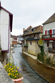 Spring view of the French town Salies de Bearn — Stock Photo